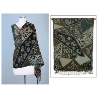 Wool 'Indian Collage' Shawl (India)