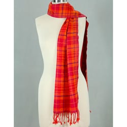 Wool 'Red Delhi Plaid' Scarf (India)