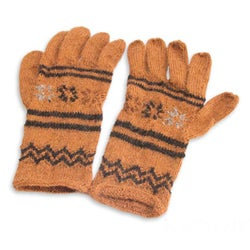 Alpaca Blend 'Cinnamon Clouds' Gloves (Peru)
