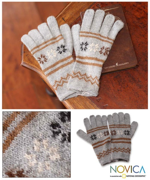 Alpaca Blend 'Misty Clouds' Gloves (Peru)
