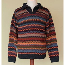 Men's Alpaca 'Mountain Life' Sweater (Peru)