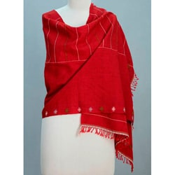 Wool 'Indore Red' Shawl (India)