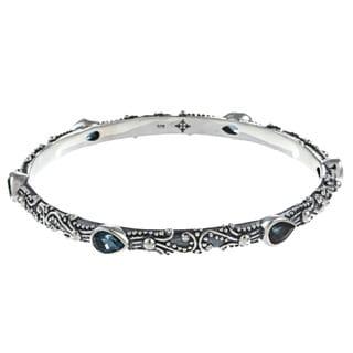 Madison Sterling Silver London Blue Topaz Bangle Bracelet