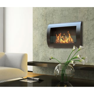 Anywhere Black Indoor Wall Mount Fireplace