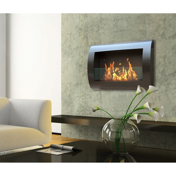 anywhere black indoor wall mount fireplace 14844768