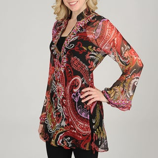 JMB Signature Women's Black/ Red Jeweled Tunic Top