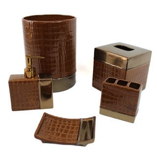 It's A Croc Cocoa Bath Accessory 5-piece Set