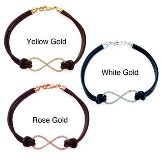 Victoria Kay 14k Gold 1/5ct TDW White Diamond Leather Infinity Bracelet (IJ, I1-I2)