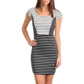 Stanzino Women's Black/ White Striped Cap Sleeve Dress