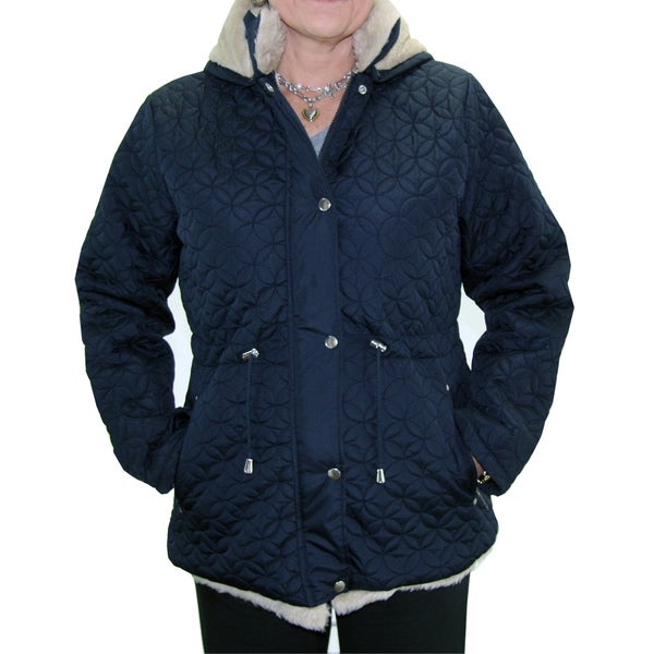 Totes Women's Navy Water-resistant Quilted Insulated Jacket