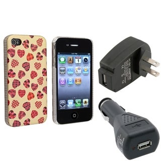 BasAcc Pink Case/ Black Travel/ Car Charger for Apple� iPhone 4/ 4S