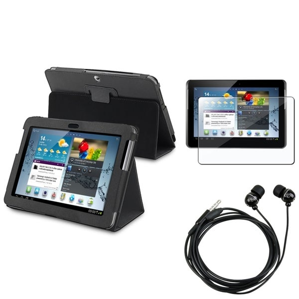 INSTEN Black Leather Tablet Case Cover/ Screen Protector/ Headset for Samsung Galaxy Tab 2 10.1