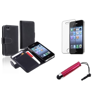 INSTEN Black Wallet Phone Case Cover/ Screen Protector/ Stylus for Apple iPhone 4/ 4S