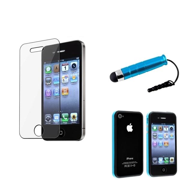 BasAcc TPU Bumper Case/Anti-Glare Screen Protector/Stylus for Apple iPhone 4/4S