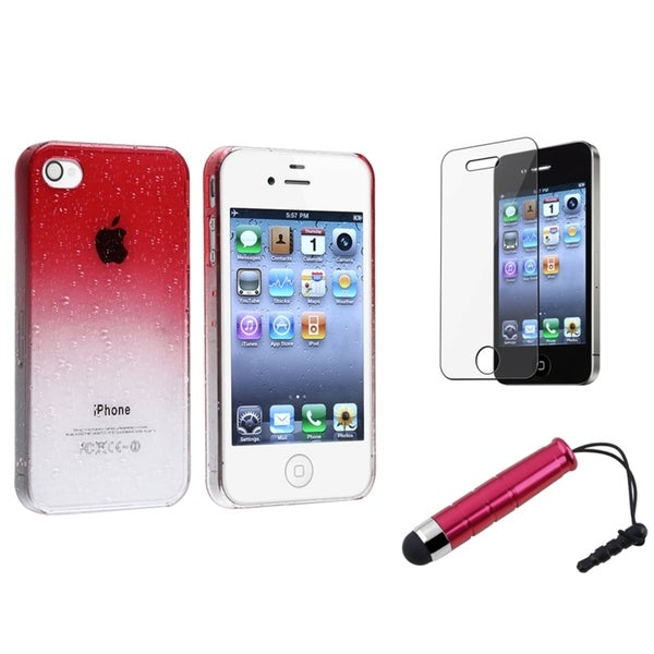 BasAcc Red Case/ Screen Protector/ Stylus for Apple iPhone 4/ 4S
