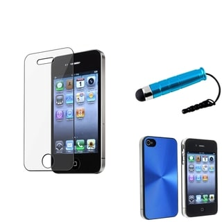 BasAcc Blue Case/ Screen Protector/ Stylus for Apple iPhone 4/ 4S