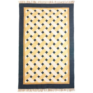 Blue, Yellow, and White Basketweave Flatweave 100-percent Egyptian Wool Rug (6' x 9')