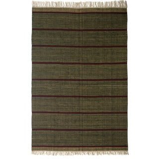 Flatweave Newlands Green Stripe Egyptian Wool Rug (6' x 9') (Egypt)