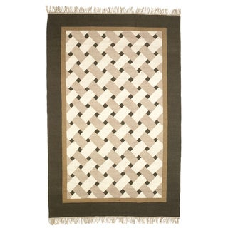 Beige, Brown, and Gray Flatweave Basketweave 100-percent Egyptian Wool Rug (6'x9')
