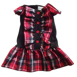AnnLoren Red and Black Plaid Christmas Dog Dress