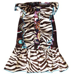 AnnLoren Safari Zebra and Floral Ruffled Dog Dress