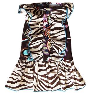 AnnLoren Safari Zebra and Floral Ruffled Dog Dress