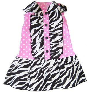 AnnLoren Zebra and Polka Dots Ruffled Dog Dress