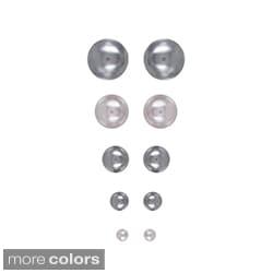 Roman Faux Silvertone Pearl 5-pair Stud Earring Set