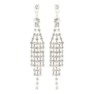 Roman Silvertone Faceted Crystal Waterfall Chandelier Earrings
