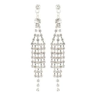 Roman Silvertone Faceted Crystal Waterfall Chandelier Earrings