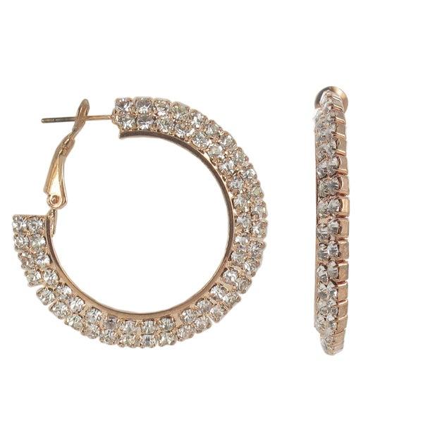 Roman Rose Goldtone Faceted Clear Crystal Hoop Earrings
