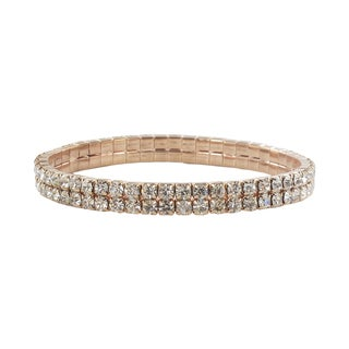 Roman Rose Goldtone Crystal 2-row Stretch Bracelet