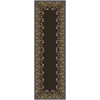 Smithsonian Hand-tufted Boxen Floral Border Wool Rug