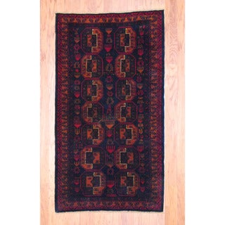 Afghan Hand-knotted Tribal Balouchi Black/ Red Wool Rug (3'6 x 6'4)
