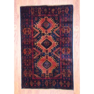 Afghan Hand-knotted Tribal Balouchi Red/ Navy Wool Rug (3'7 x 5'9)