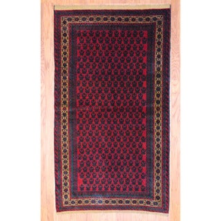 Afghan Hand-knotted Tribal Balouchi Red/ Ivory Wool Rug (3'8 x 6'6)