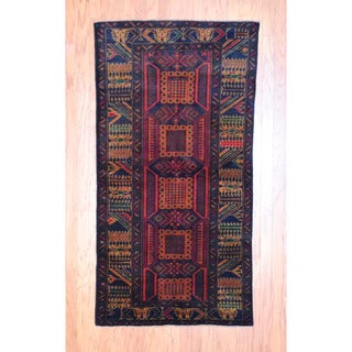 Afghan Hand-knotted Tribal Balouchi Black/ Green Wool Rug (3'5 x 6'7)