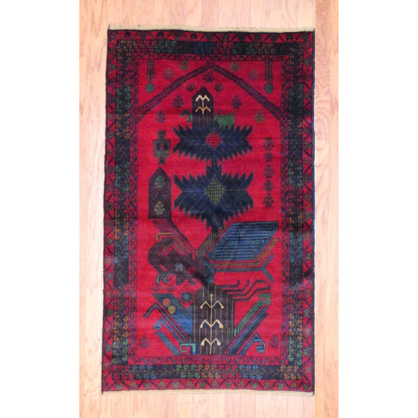 Afghan Hand-knotted Tribal Balouchi Red/ Black Wool Rug (3'4 x 5'9)