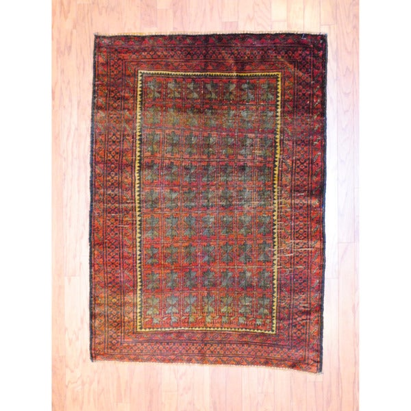 Afghan Hand-knotted Antique Tribal Balouchi Red/ Green Wool Rug (3'8 x 5'2)