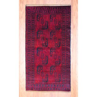 Afghan Hand-knotted Tribal Balouchi Red/ Black Wool Rug (3'6 x 6'7)