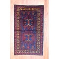 Afghan Hand-knotted Tribal Balouchi Navy/ Red Wool Rug (3'7 x 6')