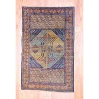 Afghan Hand-knotted Tribal Balouchi Light Brown/ Light Blue Wool Rug (3'9 x 6')