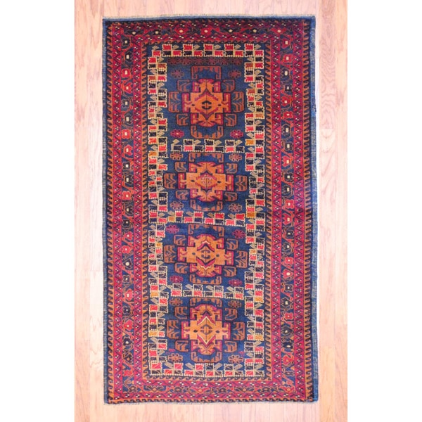 Afghan Hand-knotted Tribal Balouchi Navy/ Light Brown Wool Rug (3'10 x 6'11)