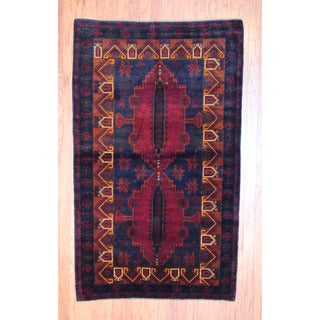 Afghan Hand-knotted Tribal Balouchi Navy/ Red Wool Rug (3'10 x 6'5)