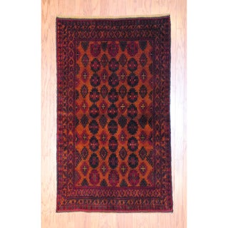 Herat Oriental Afghan Hand-knotted Tribal Balouchi Gold/ Black Wool Rug (3'6 x 6')