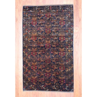Afghan Hand-knotted Tribal Balouchi Black/ Brown Wool Rug (3'9 x 6'5)