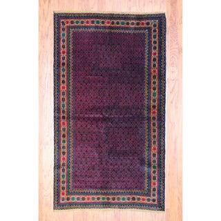 Afghan Hand-knotted Tribal Balouchi Burgundy/ Black Wool Rug (3'8 x 6'6)