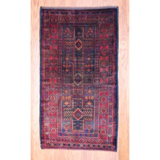Afghan Hand-knotted Tribal Balouchi Rust/ Navy Wool Rug (3'8 x 6'8)