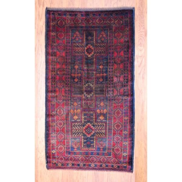 Afghan Hand-knotted Tribal Balouchi Rust/ Navy Wool Rug (3'8 x 6'8)