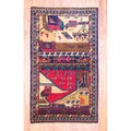 Afghan Hand-knotted Tribal Balouchi Red/ Green Wool Rug (3'11 x 6'7)